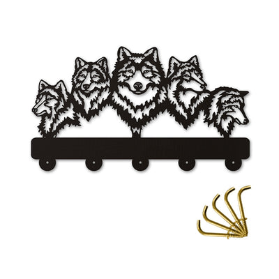 Wolves Wildlife Decorative Wall Hook Rack Clothes Bag Key Hanger