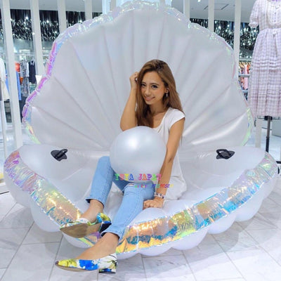 Giant Seashell With Pearl Swimming Pool Float Mattress Lounger Raft