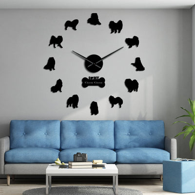 Chow Chow Dog Breed Frameless DIY Large Wall Clock Home Decor Gifts