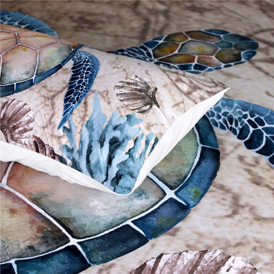 Sea Turtle Tortoise Nautical Ocean Duvet Cover Bedding Set with Pillowcases