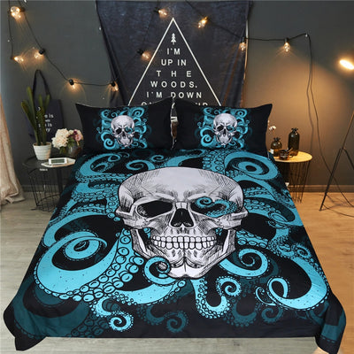 Blue Tentacles Octopus Skull Duvet Cover Set with Pillowcases