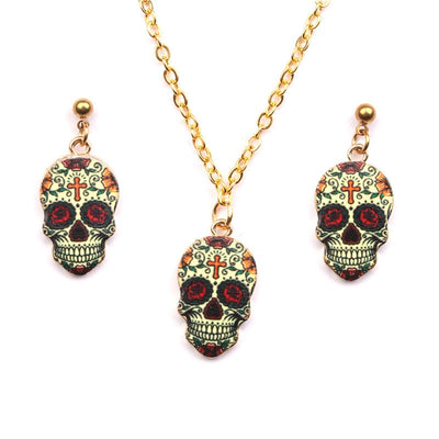 Cute Sugar Skull Gold Necklace Earring Jewelry Set