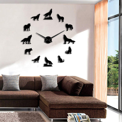 Howling Wolves Large Frameless D.I.Y. Wall Clock Wolf Lovers Gofts
