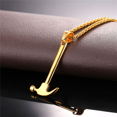 Stainless Steel Hammer Tool Shape Pendant Necklaces Gifts for Dad