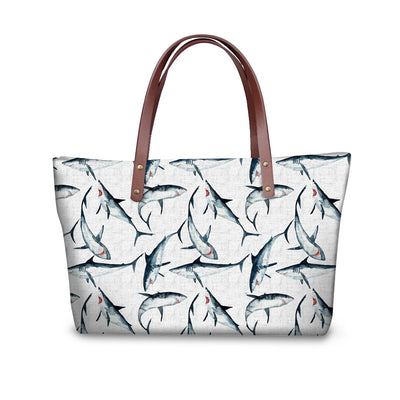 Gray Shark Pattern Leather Bag
