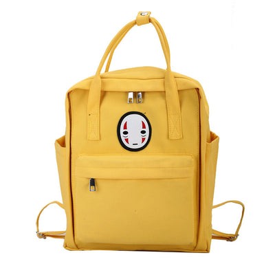 Cute No Face Faceless Canvas Backpack School Bag