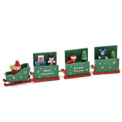 Wooden Christmas Train with Santa Bear Xmas Toys Gift Ornament Decoration
