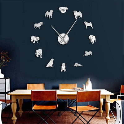 Pug Dog Large Lovers Large Frameless D.I.Y. Wall Clock