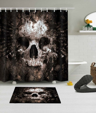Scary Rusty Rotten Skull Halloween Shower Curtain And Bath Mat Set