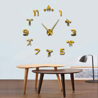 Weightlifting Fitness Gym Large Frameless D.I.Y. Wall Clock