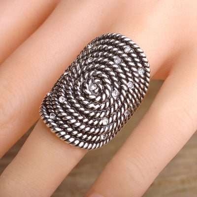 Antique Silver Bohemia Round Rope Ring