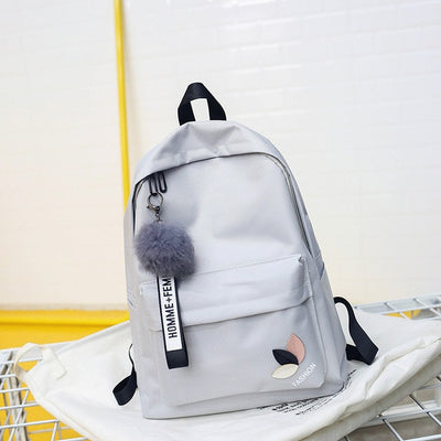 Women Canvas Nylon School Bag Backpack with Fur Keychain