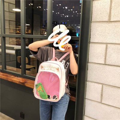 Cute Cat Ears Letter Print Transparent Clear Backpacks School Bag