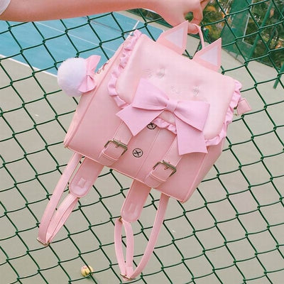 Lovely Embroidered Cat Ears Bow Backpack for Teenage Girls Funny