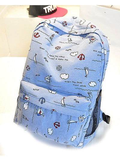 Cute Sea Sky Sail Pattern Canvas Backpack School Bag