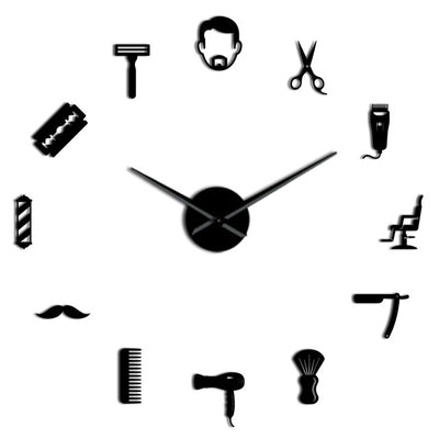 Barber Shop Beard Style Large D.I.Y. Frameless Wall Clock Barber Gifts