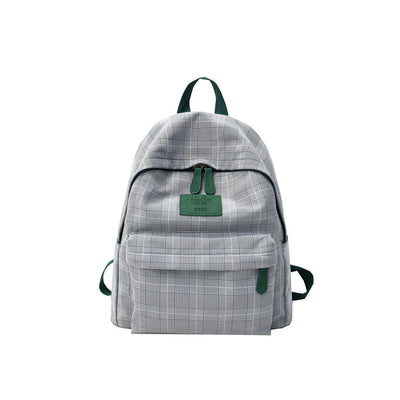 Plaid Cotton Canvas Backpack School Bag for Teenage girls
