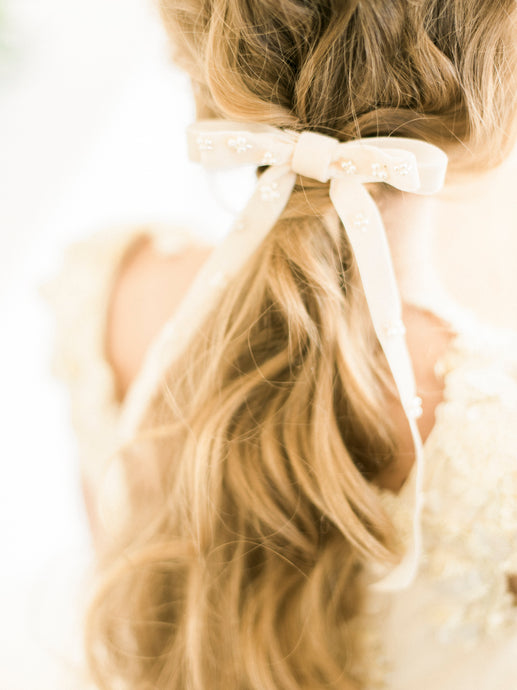 bridal velvet bow embellished with pearls