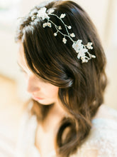 Load image into Gallery viewer, CHARLOTTE | Rhinestone leaves Silk Organza flower Bridal Hair Vine