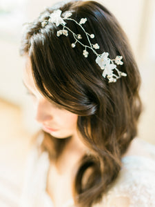 CHARLOTTE | Rhinestone leaves Silk Organza flower Bridal Hair Vine
