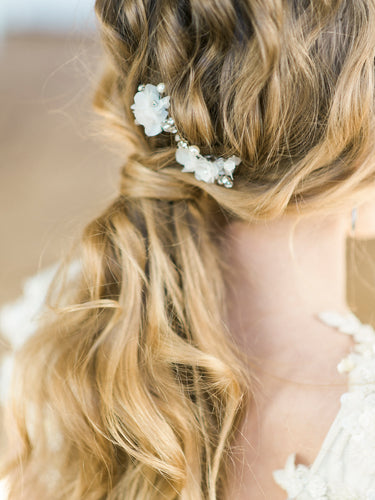 EMMA | Rhinestone Leaves Organza Flower Bridal Hair Pins