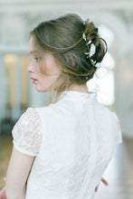 Load image into Gallery viewer, EVELINA | Silk flower crystal sparkle long bridal hair vine - byKatriin