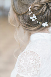 EVELINA | Silk flower crystal sparkle long bridal hair vine - byKatriin