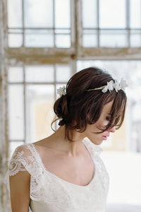 OLIVIA | Silk floral beaded leaves statement bridal headpiece - byKatriin