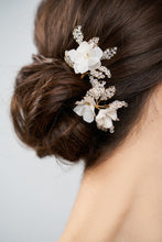 Load image into Gallery viewer, ANNA | Crystal encrusted leaves silk flower hair pins