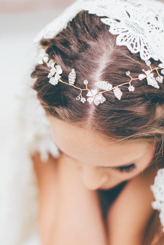 by katriin - delicate crystal blossom bridal headpiece - www.katriin.com