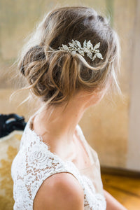 by katriin - elegant bridal hair comb with beaded pearl leaves and pearl flowers - www.katriin.com