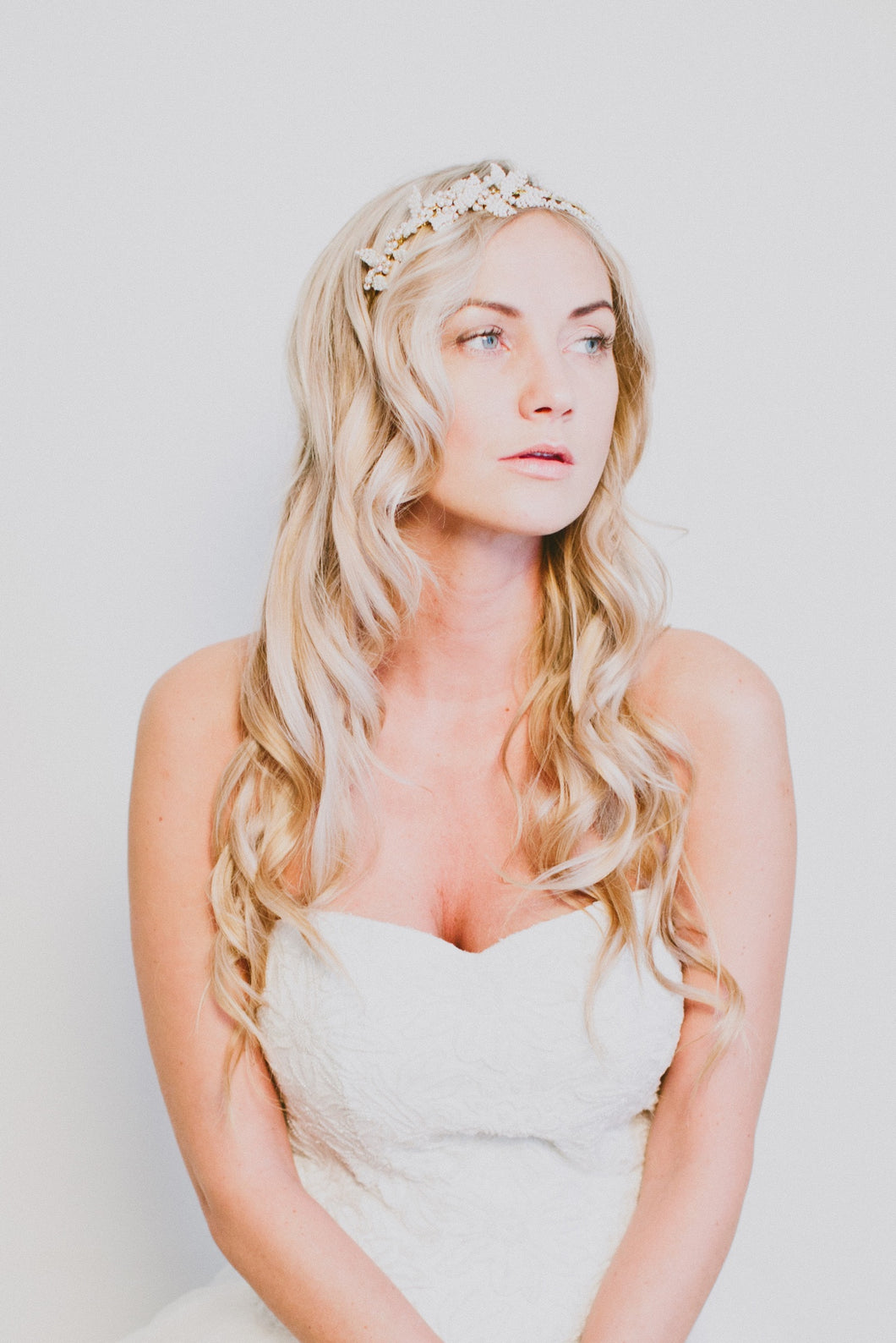 EVANGELINE | Pearly Double Bridal statement headpiece
