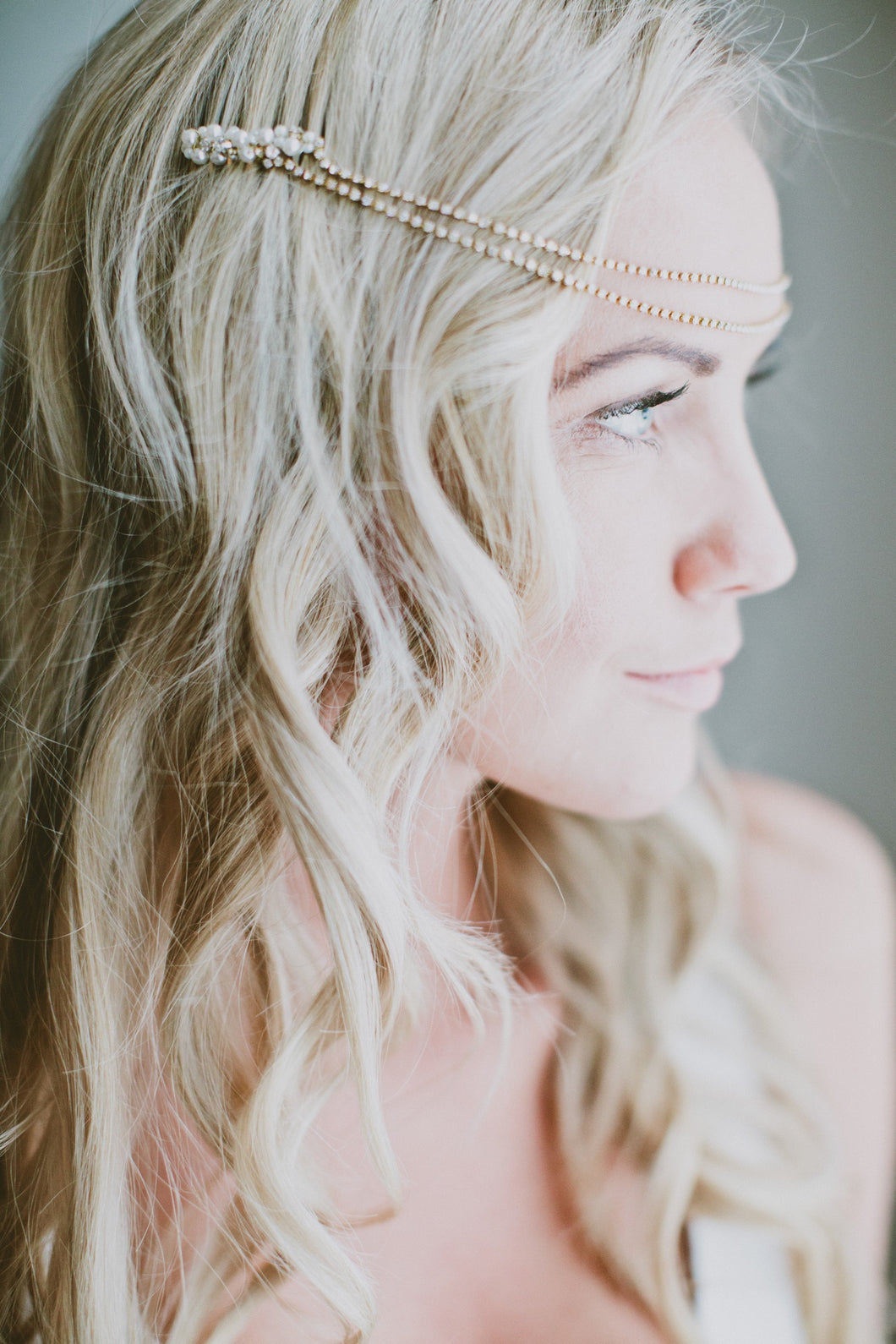 AMELIE | Bohemian crystal chain bridal headpiece - byKatriin