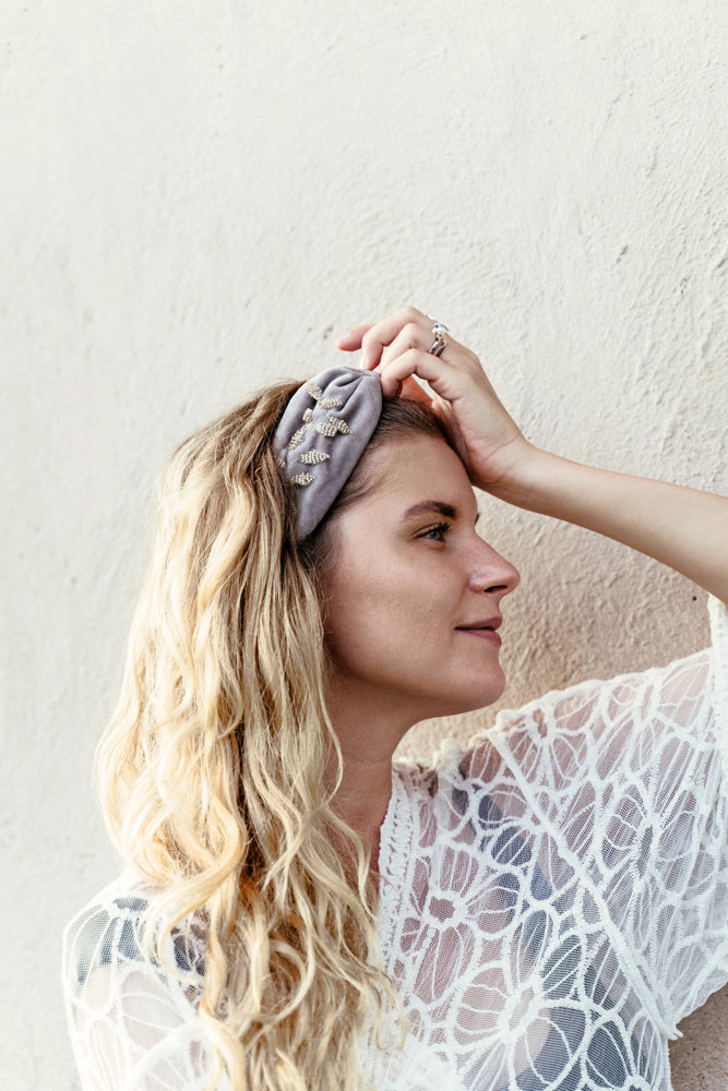 KELLY |  Gray Embellished Velvet Statement Headband