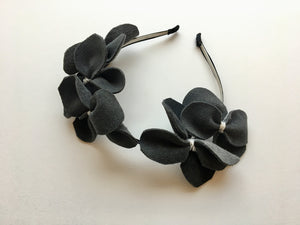 GIGI | Grey Genuine Leather flower headband