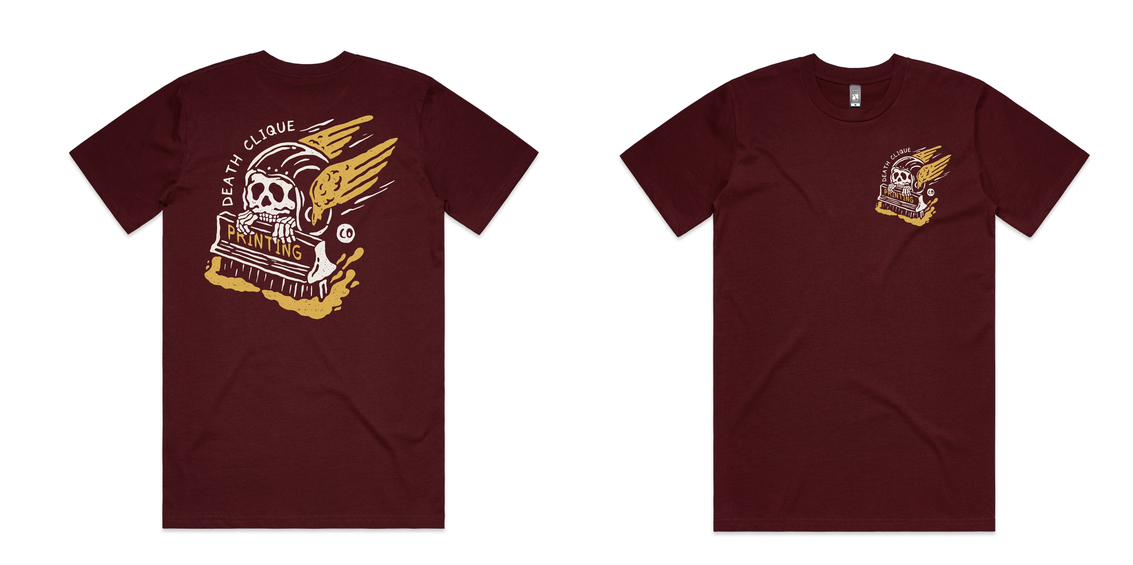 Death Clique Printing Burgundy Tee