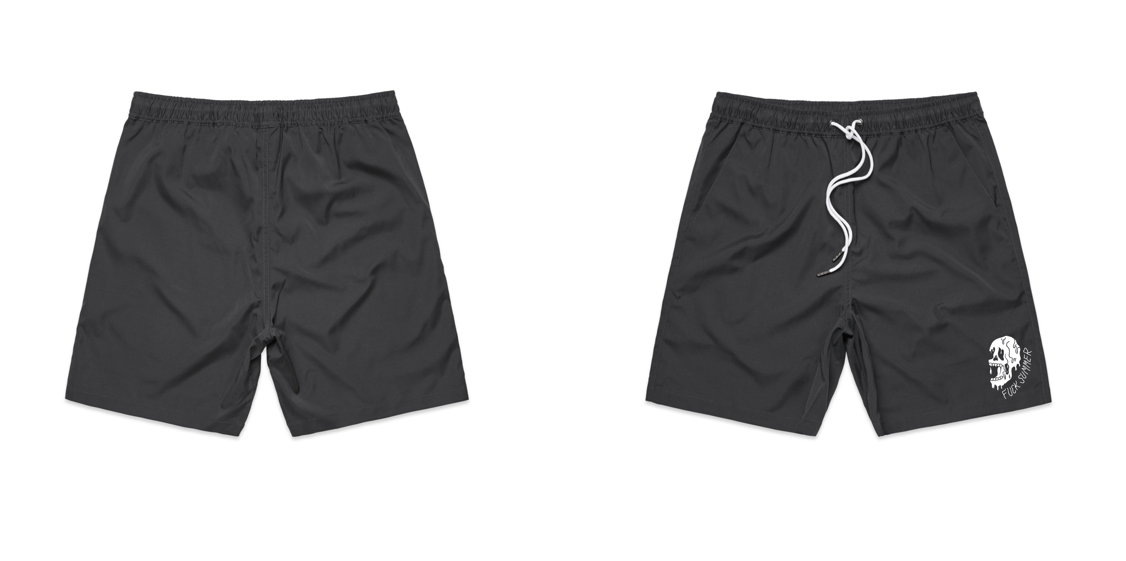Charcoal F Summer Skull Swim Shorts