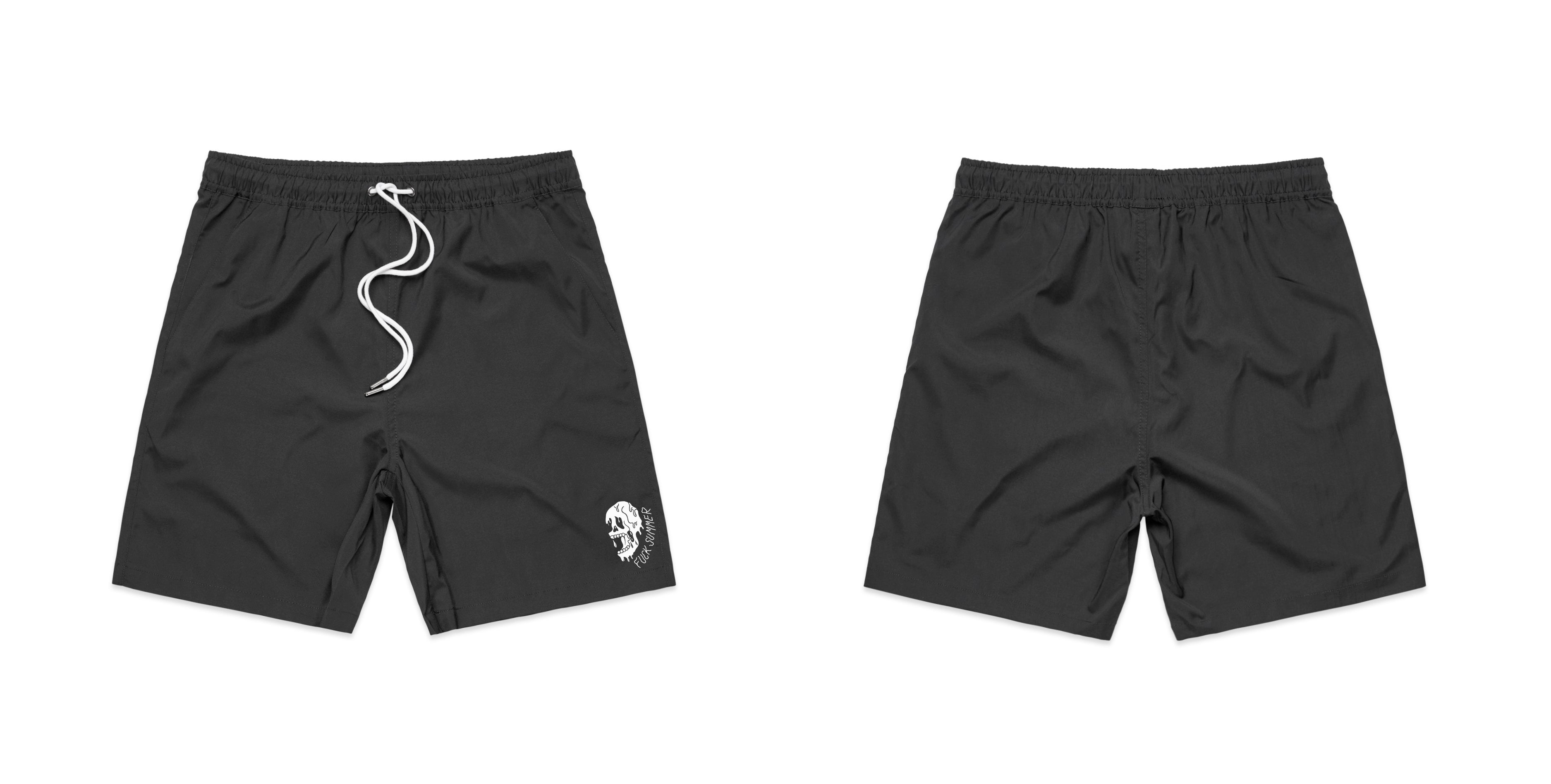 Black F Summer Skull Swim Shorts