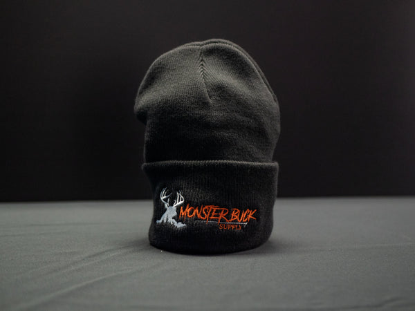 Monster Buck Supply Black Beanie with Orange and Tan Logo
