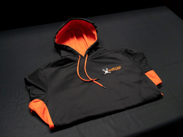 Monster Buck Supply Black Hooded Sweatshirt with Orange Colorblocking and Orange and Tan Logo