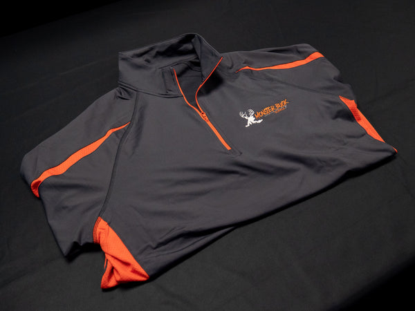 Monster Buck Supply Black Half Zip Pullover with Orange Colorblocking and Orange and Tan Logo