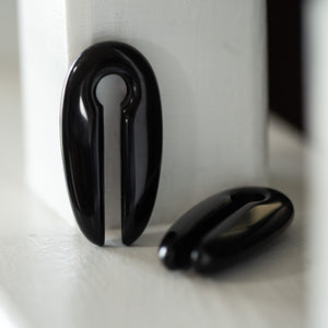 Carved Black Obsidian Ear Weights, Pair - 70 Knots
