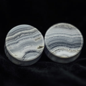 Limited Edition Blue Lace Agate Double Flared Plugs, Pair - 70 Knots