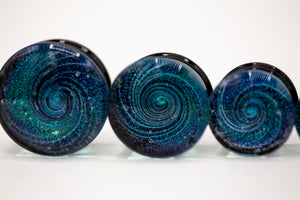 Dichroic Glass Double Flared Galaxy Plugs, Pair of Teal/Blue - 70 Knots