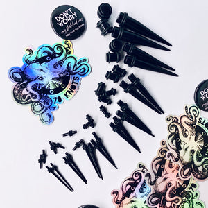 36 Piece Taper Kit:  14G (1.6mm) to 00G (10mm), Black UV Acrylic Set - 70 Knots