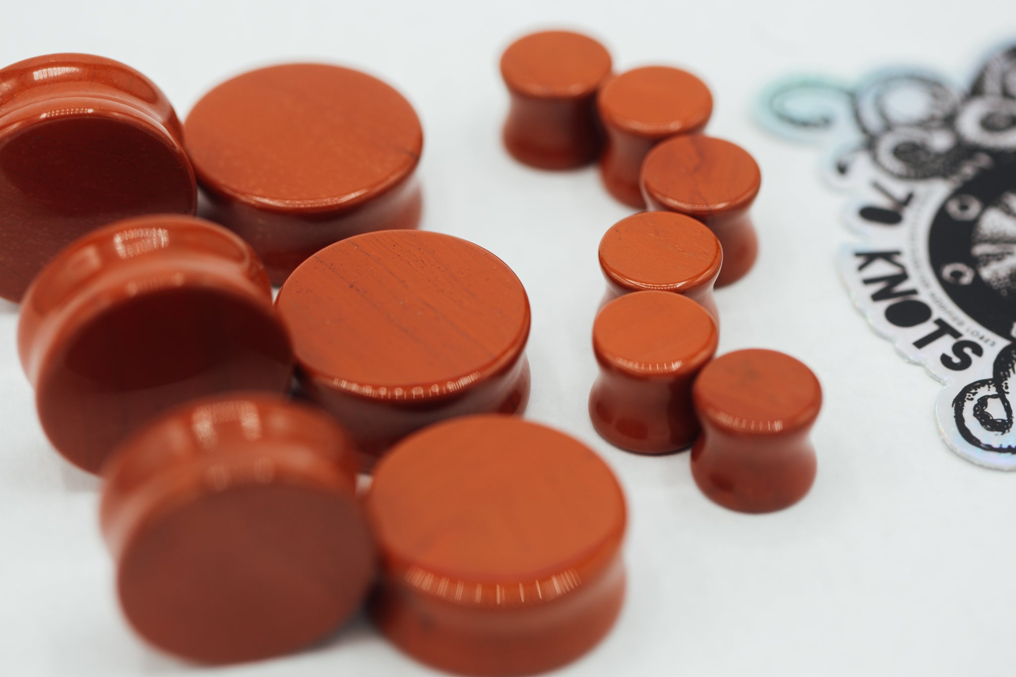 Limited Edition Red Jasper Double Flared Plugs, Pair - 70 Knots