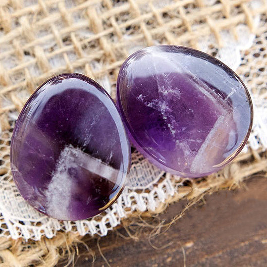 Teardrop Amethyst Double Flared Plugs, Pair - 70 Knots