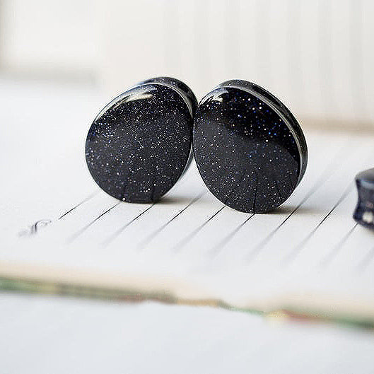 Teardrop Blue Goldstone Galaxy Double Flared Plugs, Pair - 70 Knots