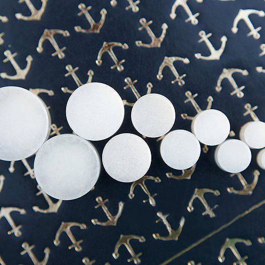 White Quartz Double Flared Plugs, Pair - 70 Knots