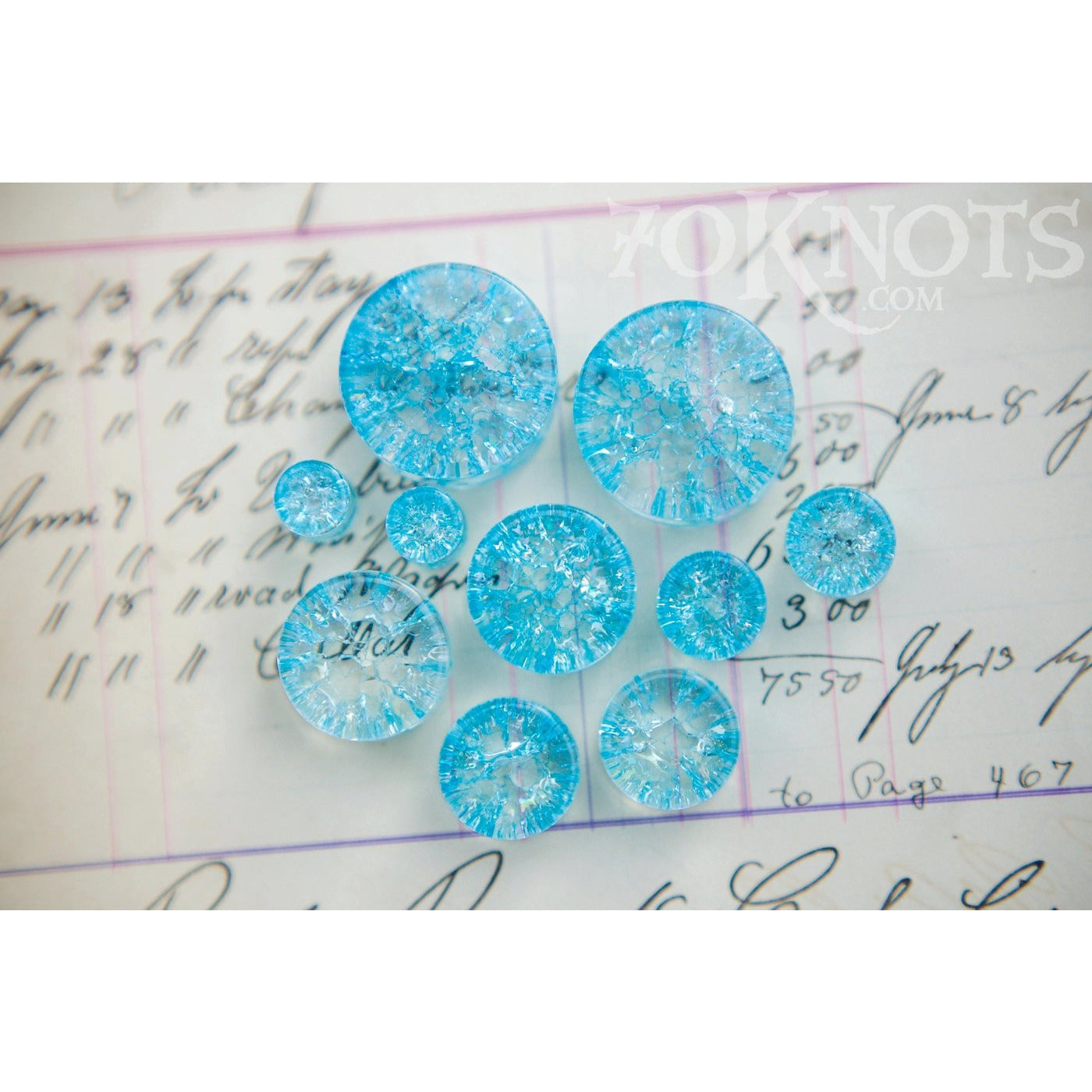 Blue Cracked Glass Double Flared Plugs, Pair - 70 Knots
